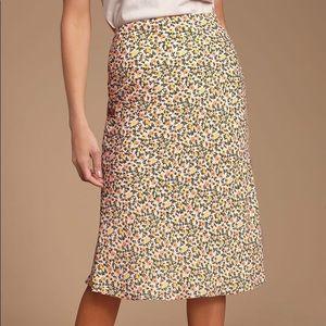 Lulus Blush Floral Print Midi Skirt